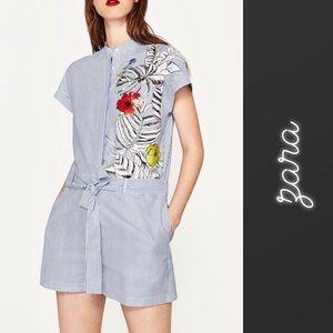 Zara Striped & Floral Button-Up Romper